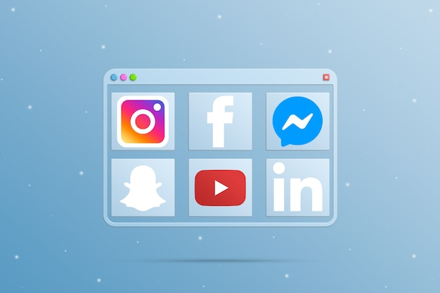 Browser window with social media logo icon elements 3d