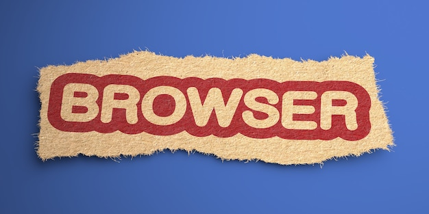 Браузер word of rough paper, обведен красным. интернет-концепция. 3d визуализация.