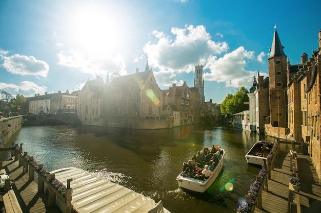 Bruges ,belgium - april 26,2017 : bruges city heritage building for tourist people visit and travel in belgium.