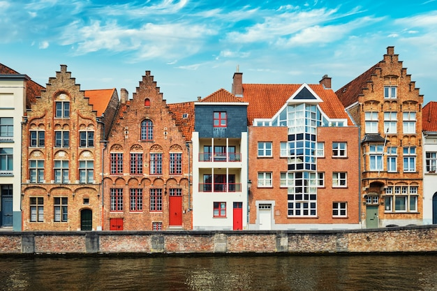 Brugge canal and old houses bruges belgium