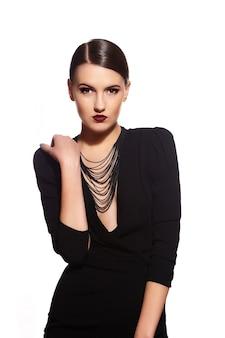 Brunette girl on black clothes