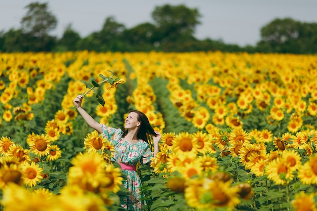 The brunette girl in a field of sunflowers like in the shower