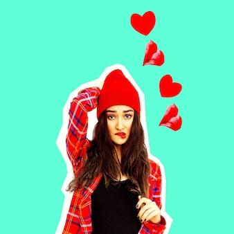 사랑 진동에 갈색 머리 소녀입니다. 콜라주 예술입니다. 발렌타인 데이 개념