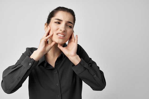 Brunette headache discontent trouble isolated background