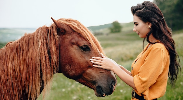 Brunette lady touching her brown horse while posing in a field near forest