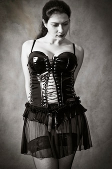 Brunette in leather corset