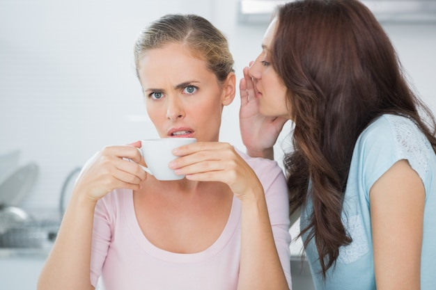 Brunette telling secret to her friend while drinking coffee