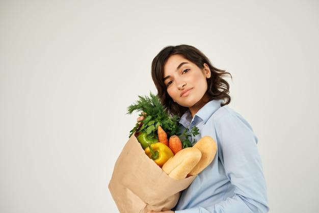 식료품 건강 식품 야채 슈퍼마켓 패키지와 함께 갈색 머리