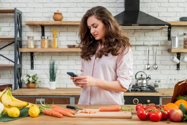 Brunette woman in the kitchen