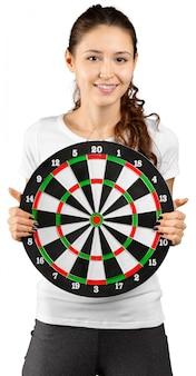 Brunette woman portrait with target.