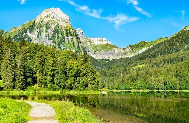 スイスアルプスのオーバー湖にあるブリュンネリストック山