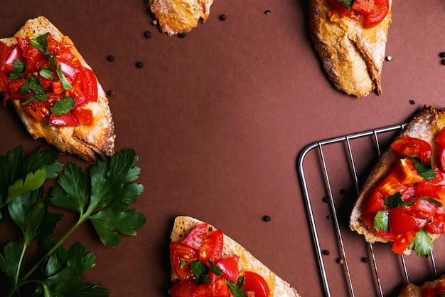 Bruschetta on  a baking tray