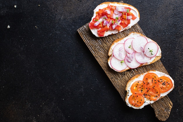 Bruschetta vegetable tomato, radish cream cheese portion cooking meal snack