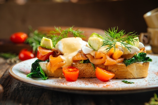 Bruschetta with salmon cheese and vegetables