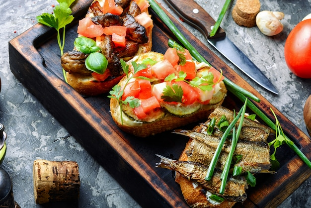 Bruschetta with various toppings