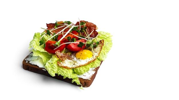 Брускетта с овощами и яйцами на белом фоне. фото высокого качества