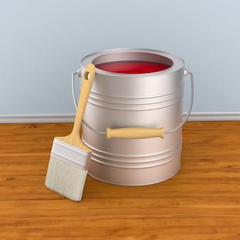ブラシと色付きの缶。 3dイラスト