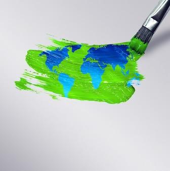Кисть рисует карту мира