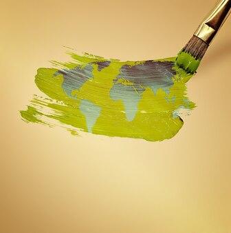 Brush draws map of the world