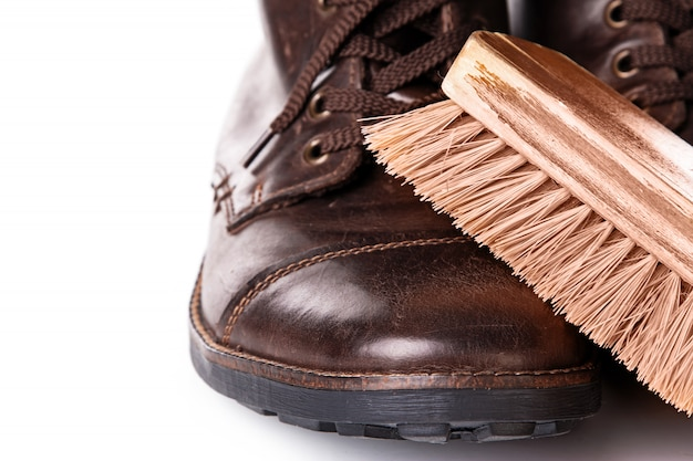 Brush and leather boots