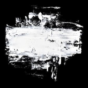 黒の背景に白い油絵の具のブラシストローク-抽象的な構成とテキストのスペース