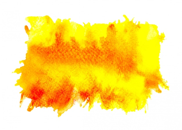 Brush yellow watercolor on paper.