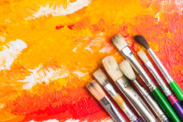 Brushes on abstract painting