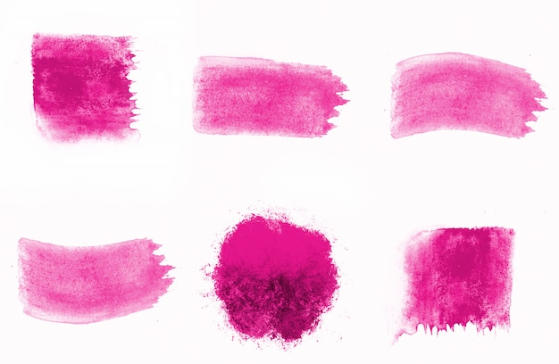 Brushes composition of dark pink watercolors