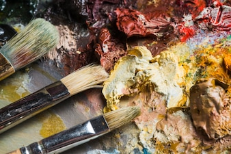 Brushes near blots of paint