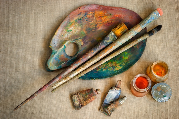 Brushes and paint artist