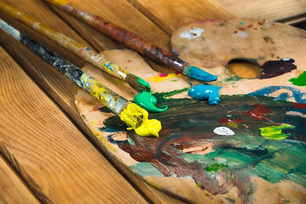 Brushes trio with paint