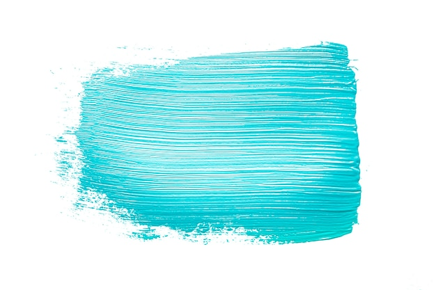 Brushstroke of blue color on white