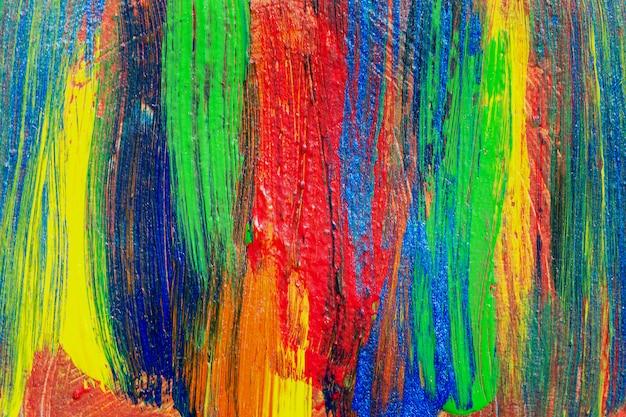 Творческий фон искусства рисованной акриловой живописи. съемка крупного плана акрила красочной текстуры brushstrokes на холсте. современное современное искусство. абстрактная композиция для элементов дизайна.