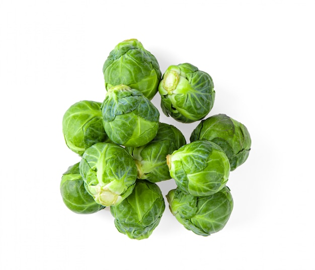 Brussel sprouts on white wall.