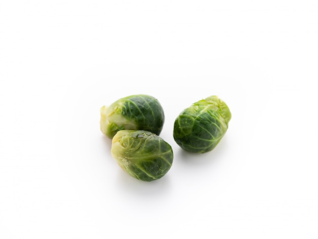 Brussel sprouts with shadow on isolated white background