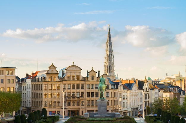 Brussels cityscape of old medieval town, belgium