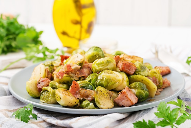 Brussels sprouts. roasted brussels sprouts with bacon.