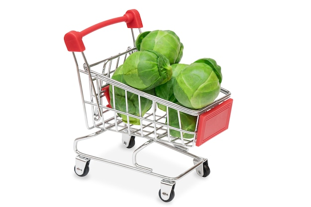 Brussels sprouts in a supermarket cart