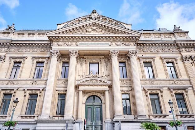 Brussels stock exchange building facade in belgium