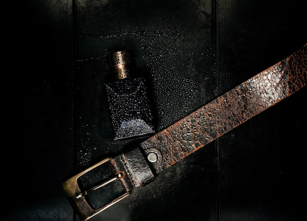 Brutal men's perfume. the fragrance of masculinity and leather