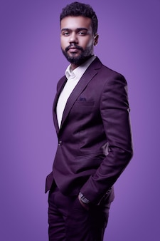 Brutal young african american male model in formal fashion suit
