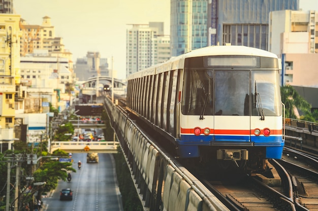 Bts sky train is running in downtown of bangkok