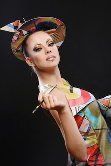 Buautiful attractive woman with brush