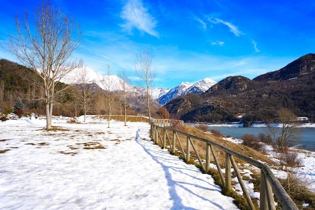 Bubal reservoir in gallego river in tena valley huesca