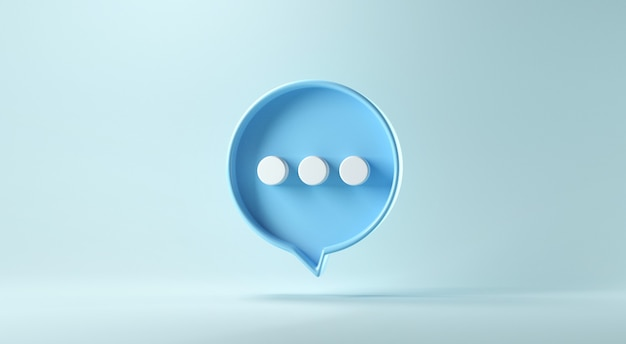 Bubble talk or comment sign symbol on blue background.