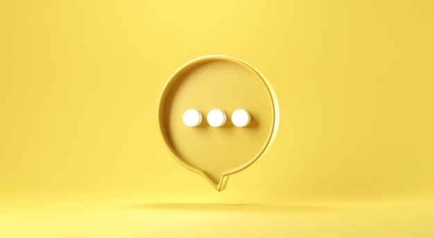 Bubble talk or comment sign symbol on yellow background