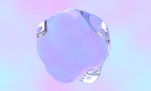 Пузырь с глянцевой жидкой поверхностью, плавающий над пастельным цветом.