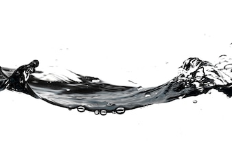 Bubbles and splashes on water surface