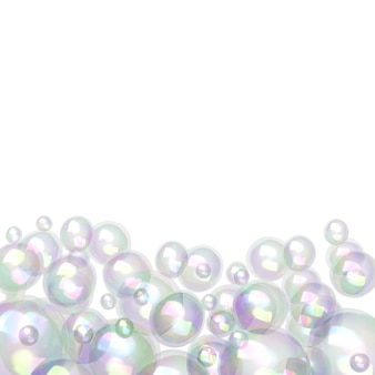 Bubbles of different sizes isolated on white background