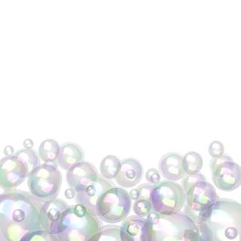 Пузыри разных размеров, изолированные на белом фоне